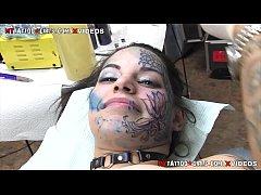 Extreme half face tattoo...