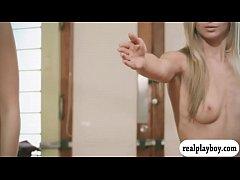 Hot big boobs blond coach teaches 2 babes yoga ...