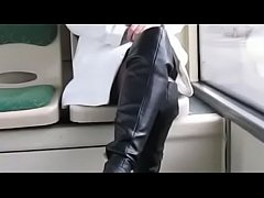Best Mom Flashing on Bus Boots Stockings. See p...