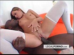Hot brunette enjoying interracial...