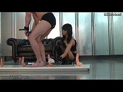 Japanese mistress Kaede trains slave ass hole
