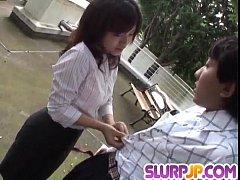 Upskirt show with cock sucking Kana Shimada
