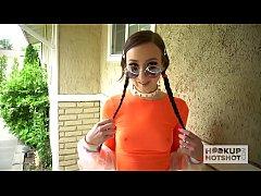 Skinny pigtail teen Carmen Rae gets banged hard...