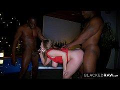 BLACKEDRAW Big titty white girl gets double tea...