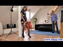 Tall posing stewardess licks...