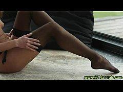 Petite brunette babe in stockings