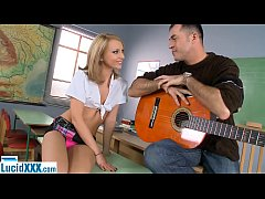 Schoolgirl teen fucked in the ass by her guitar...