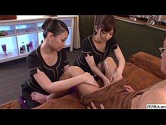 thumb jav cfnm massag  e clinic handjob by two masse ob by two masseu b by two masseu