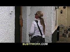 Busty salesgirl gets boned from behind