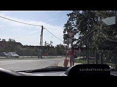 Hungarian guy fucks busty stranded teen in his van