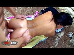 Hot spanish MILF Carol Sevilla with perfect body outdoor hardcore anal sex