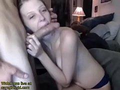 Blonde girlfriend sucks big dick