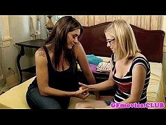 Lesbian girlfriend in spex licking busty milf