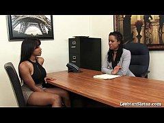 Black Lesbians Jenna and Kira Cum Hard with Syb...