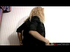Curly blonde ebony t-babe deepthroats my dick in POV closeup
