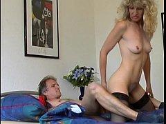 Blonde mature in stockings