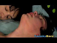 Gay twinks Ethan Fox and Josh Bensan bareback a...