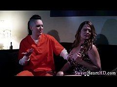 Busty lesbian eats pussy