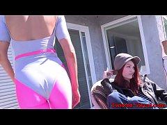thumb redhead lesbian anally toyed by busty milf