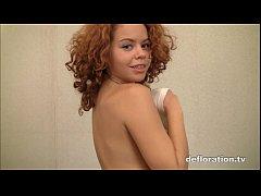 Redheaded teen shows virgin...