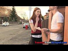 Redheaded teen jizzing