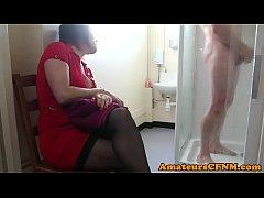 CFNM mature sucking guys cock after shower