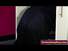 thumb british blowjob babe sucking dick for facial