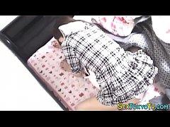 Japanese teen rubs pantys