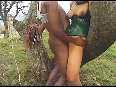 Busty ebony whore likes it rough and kinky outd...