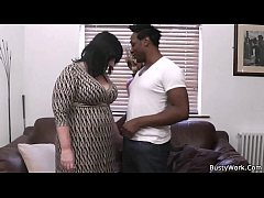 Black dude pleases busty brunette woman