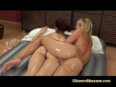 Slippery massage with lesbians