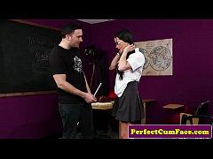 Ugly British schoolgirl blowing dick