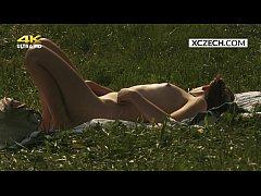 Czech teen masturbating outdoor and watcher spy...