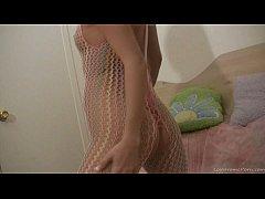 Teen babe in fishnet bodystockings masturbating on camera (2)