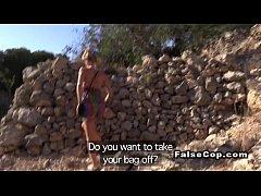 Slim Euro blonde licks arse to fake cop outdoor