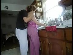 thumb fucking wife in  kitchen