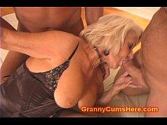 thumb granny gets a gang bang and cum bath