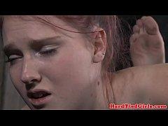 Hogtied bdsm sub Ashley Lane caned