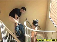 Busty stepmom jerking dick...