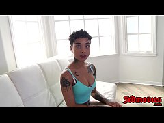 Stunning ebony Honey Gold bouncing on a huge co...