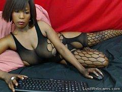 Busty ebony MILF teasing on webcam