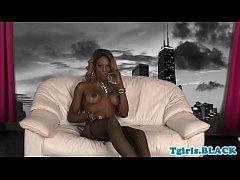 Mature ebony tgirl strokes...