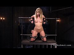 Busty blonde pussy vibed in device bondage