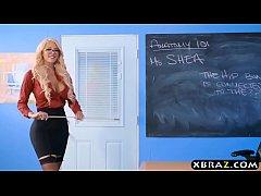 Immens curves teacher blonde fucks her student ...