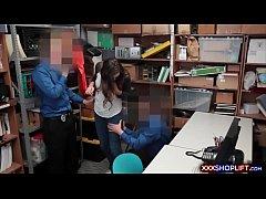 Cute teen brunette shoplifter got caught and go...