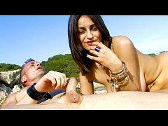 Sandra Milka fuckin at the bach with Leo Galvez