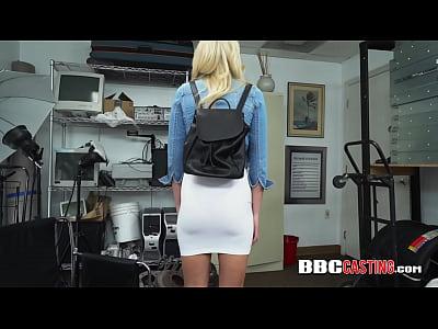 Hot blonde gets her coochie drilled hard on directors desk