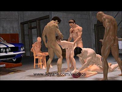 3d Anime Garage Interracial Gangbang from 3D yank