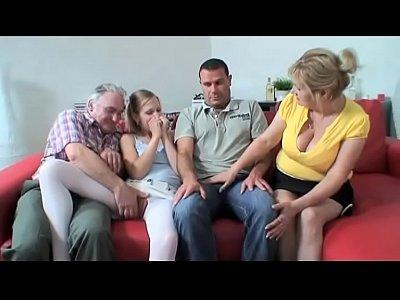 Grandfather fucks orgy with three girls #2