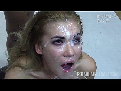 Premium Bukkake - Eva swallows 94 huge mouthful cum loads